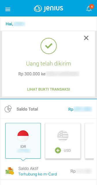 Transfer uang dari aplikasi Jenius Berhasil