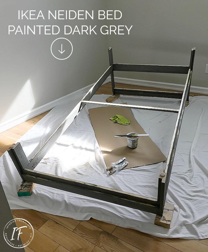 Ikea Neiden Pine Twin Bed Painted Grey