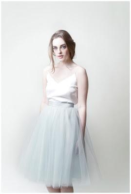 falda de tul azul
