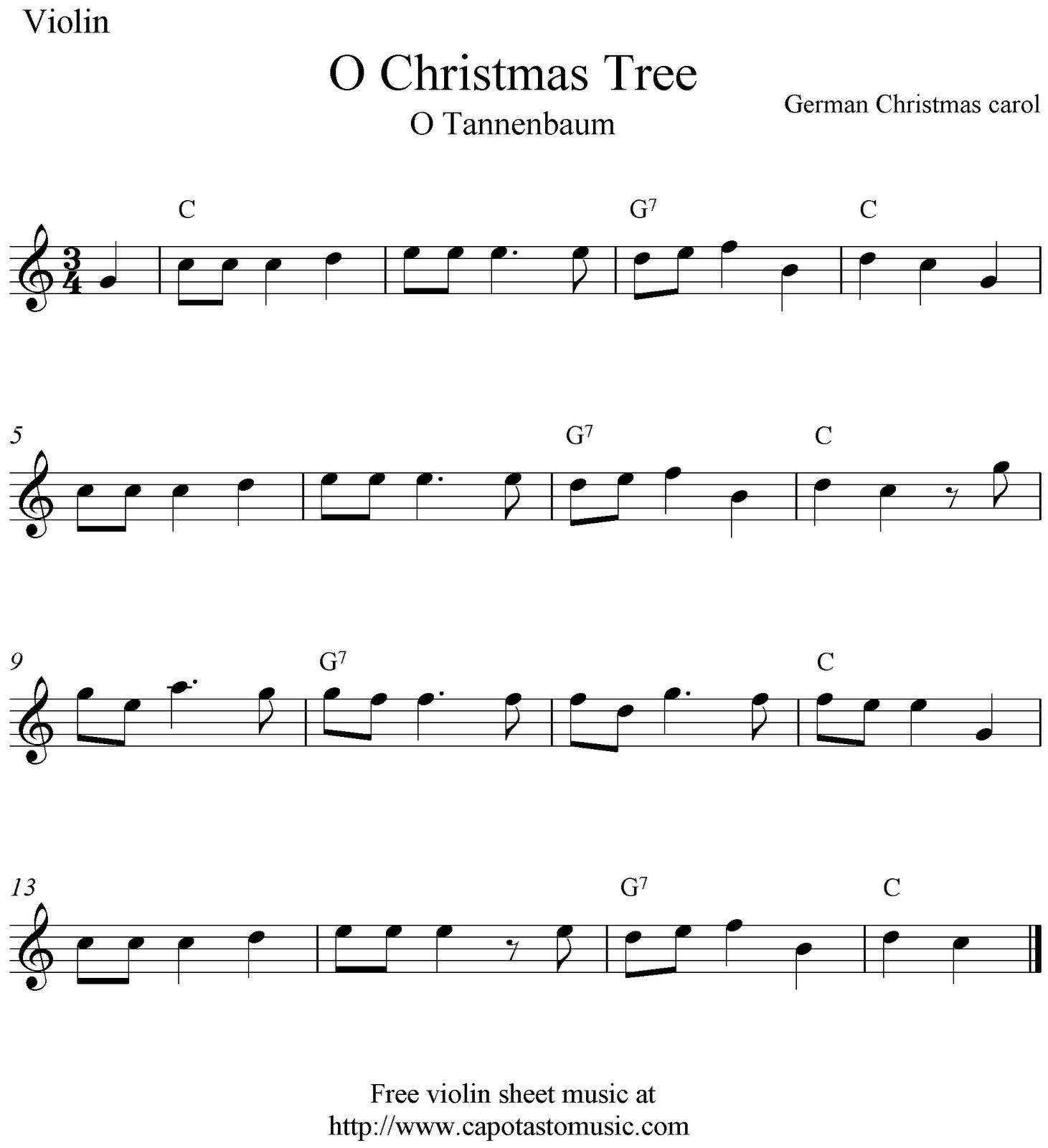 O Christmas Tree (O Tannenbaum), free Christmas violin sheet music notes