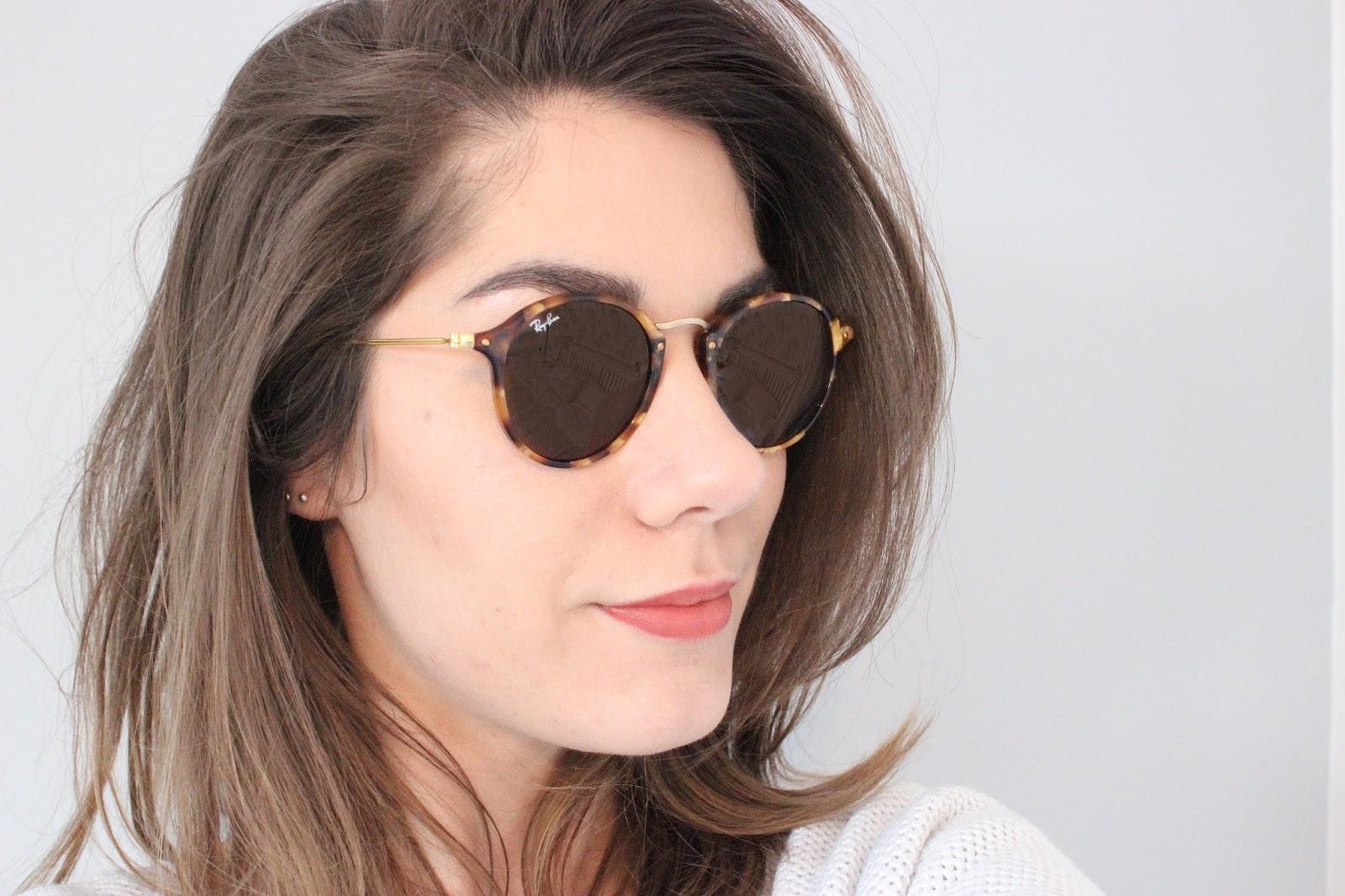 ray ban classic metal round sunglasses  ray ban classic round fleck sunglasses styled with hair down