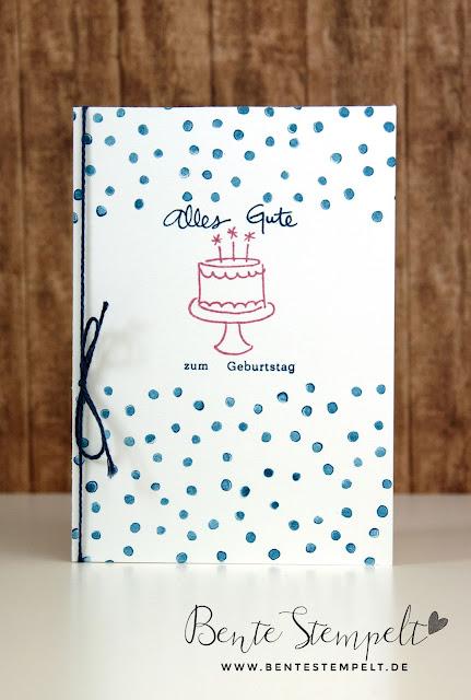 Stampin up Geburtstagspuzzle Punkte Torte Zarte Pflaume Jeansblau Geburtstagskarte