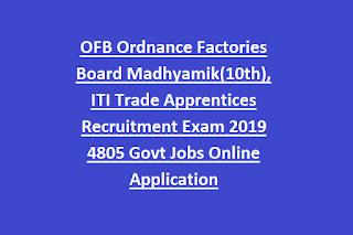 OFB Ordnance Factories Board Madhyamik(10th), ITI Trade Apprentices Recruitment Exam 2019 4805 Govt Jobs Online Application