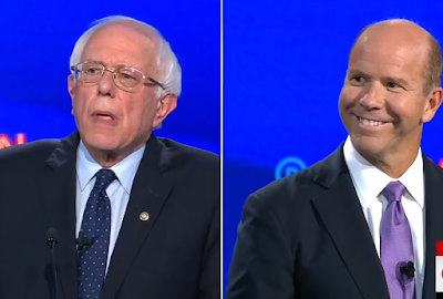 CNN Democrat presidential debate July 2019 John Delaney grin smile Bernie Sanders you're wrong