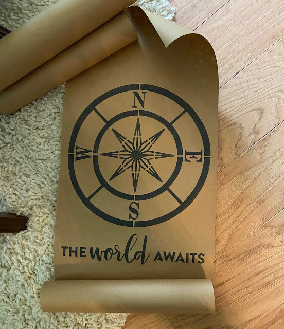 Photo of a compass stenciled on brown paper