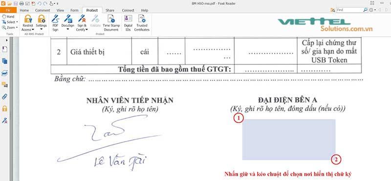 Hình 2 - Nhấn giữ và kéo chuột để chọn vùng hiển thị chữ ký điện tử Viettel