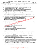 Contemporary India and Education B.Ed Question Paper