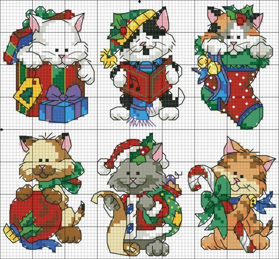 Mais de 50 Ideias Para Decorar No Natal. gatinhos Em Ponto Cruz Com Diagramas