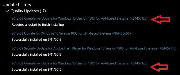 Atualização KB4457128 com duas instalações no windows 10