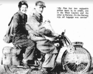 Vintage photo of man and wife on small Royal Enfield motorcycle.