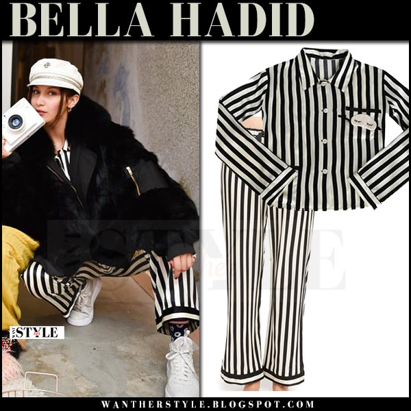 Bella Hadid in striped black and white pajama pants and shirt Morgan Lane what she wore april 2017