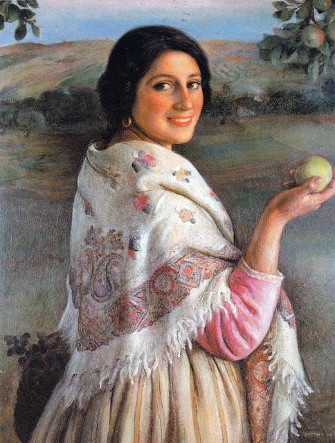 Woman with apple, Eugenio Hermoso Martínez,  International Art Gallery, Self Portrait, Art Gallery, Eugenio Hermoso, Portraits of Painters, Fine arts, Self-Portraits, Painter Eugenio Hermoso