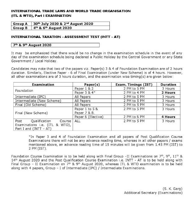 CA exam postponed till 29th july 2020