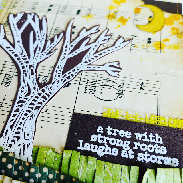 Mixed media card using layers. Stamped tree and moon.