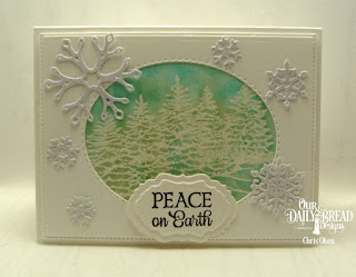 Our Daily Bread Designs Stamp Set: Peaceful Wishes, Custom Dies: Trees & Deer, Double Pierced Vintage Labels, Curvy Slopes, Snow Crystals, Pierced Rectangles, Double Stitched Ovals