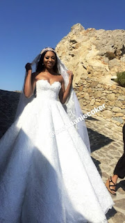 First Photos From Stephanie Coker's White Wedding In Greece
