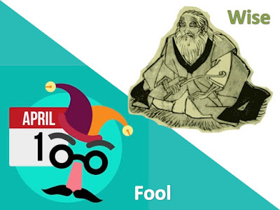 Picture shows a Joker and a wise old man in two corners: bottom-left and top-right