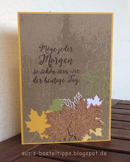 """Stampin' Up! Karte mit dem Kartenset Erinnerungen und mehr """"Farbenspiel"""", Thinlits """"aus jeder Jahreszeit"""" und stempelset """"jahr voller Farben"""", Herbstlaub kork"""