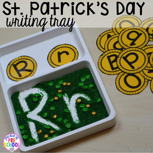 St. Patrick's Day letter writing tray activity using gold letter coins plus FREE ten frame shamrock cards for preschool, pre-k, and kindergarten. A fun way to practice writing letters.
