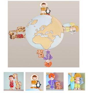 silueta de madera infantil globo terráqueo con niños del mundo babydelicatessen