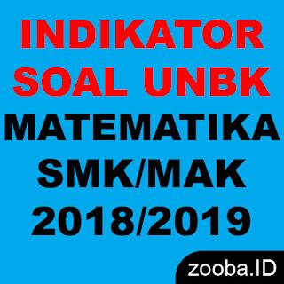Indikator Soal UNBK Matematika SMK 2019