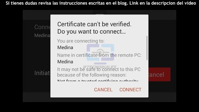 Aceptar certificado