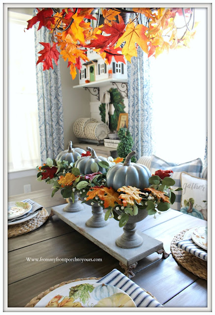 Fall -Tablescape- Pumpkin- Centerpiece-Blue & White-Decor-Farmhouse Style-Cottage Style- From My Front Porch To Yours
