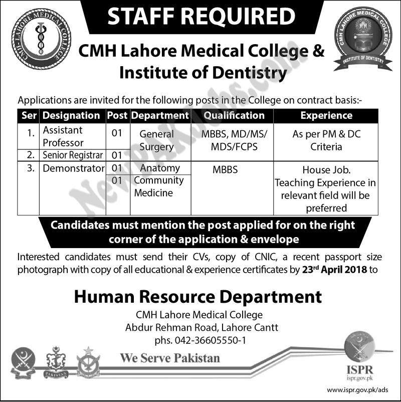CMH Lahore Medical College Latest Jobs Today