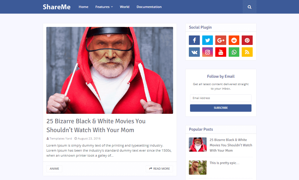 ShareMe Social Media Blogger Template is a stunning modern looking mobile ready responsiv Free Download ShareMe Blogger Template