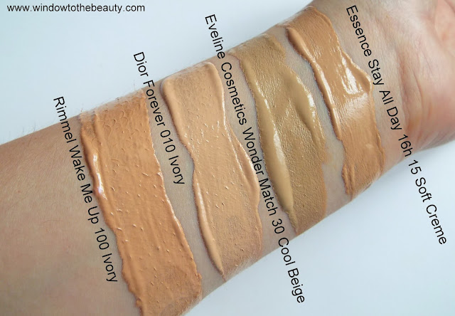 Eveline Cosmetics Wonder Match Skin Absolute Perfection Foundation swatches vs dior essence rimmel