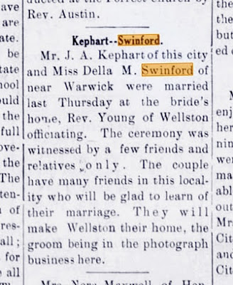 John A Kephart Weds Della M Swinford Wellston Oklahoma