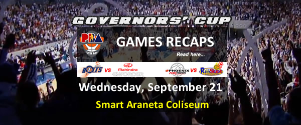 List of PBA Games Wednesday September 21, 2016 @ Smart Araneta Coliseum