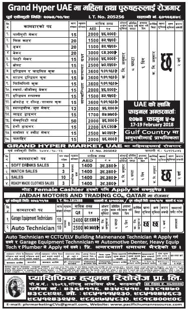 Jobs in UAE for Nepali, Salary Rs 1,01,160