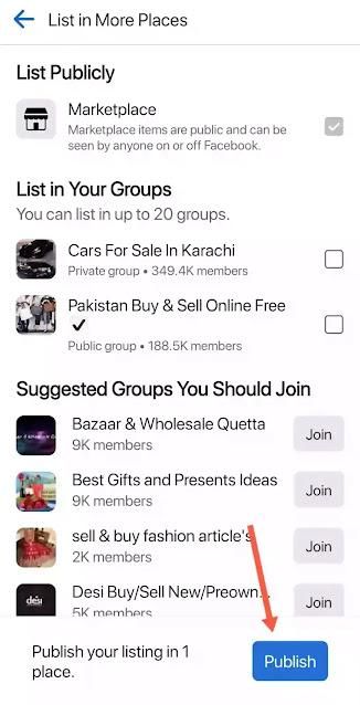 Facebook Marketplace publishing