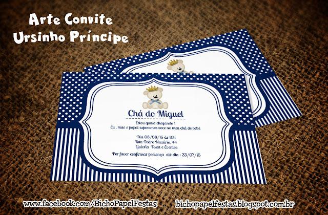 Convite Ursinho Príncipe azul marinho escuro e branco