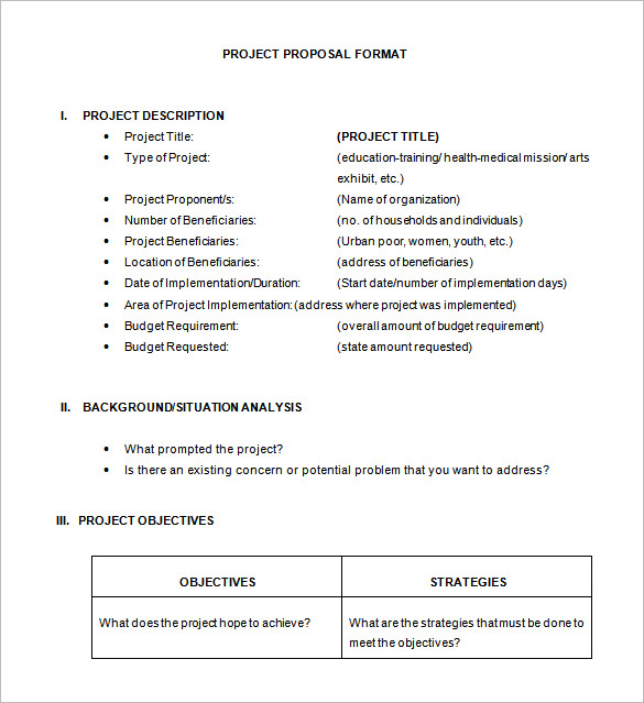 sample of project proposal template in word format download free