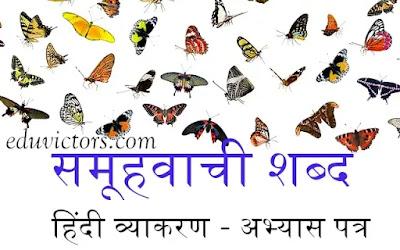 हिंदी व्याकरण  - समूहवाची शब्द - अभ्यास पत्र (Hindi Grammar Samuhvachi Shabd Collective Nouns - Worksheet)  (#eduvictors)(#hindigrammar)(#cbse)