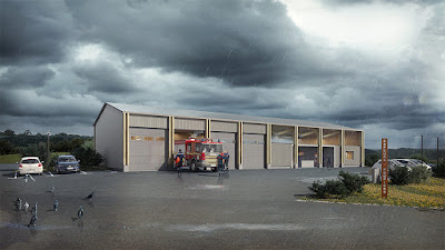 Perspective 3d centre incendie - extérieur caserne CIS