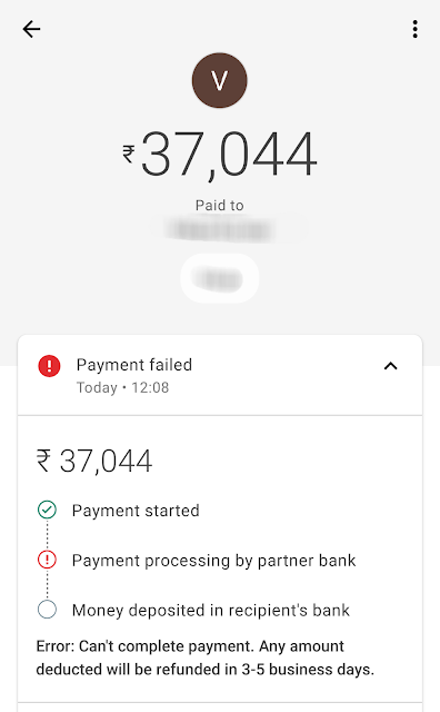 Payment failed error on Google Pay