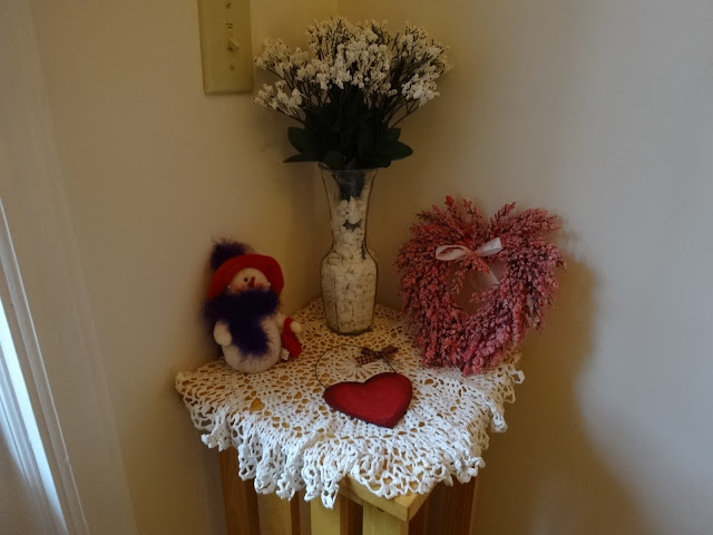 lace doily and red hearts for foyer table