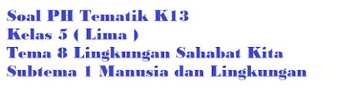 Bank Soal PH Kelas 5 Tema 8 Subtema 1 Manusia dan Lingkungan