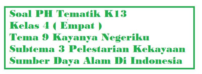 Soal PH Kelas 4 Tema 9 Subtema 3 Pelestarian Kekayaan Sumber Daya Alam Di Indonesia