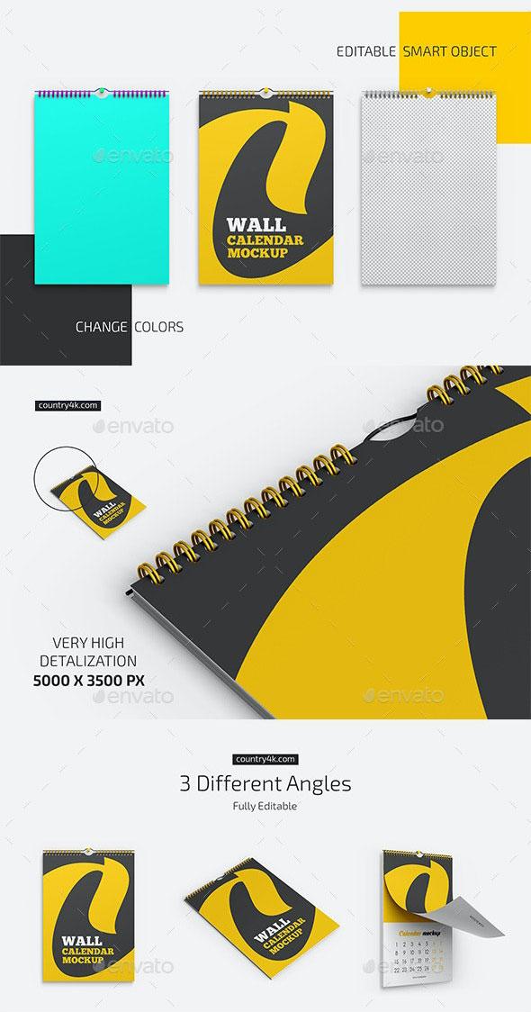 GraphicRiver Wall Calendar v01 Mockup Set 28418685