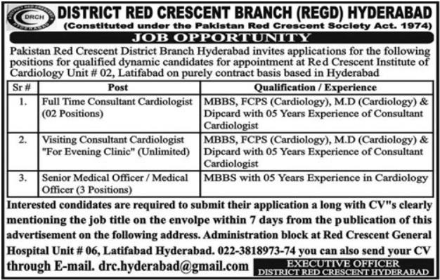 Pakistan Red Crescent PRC Hyderabad Jobs 2020