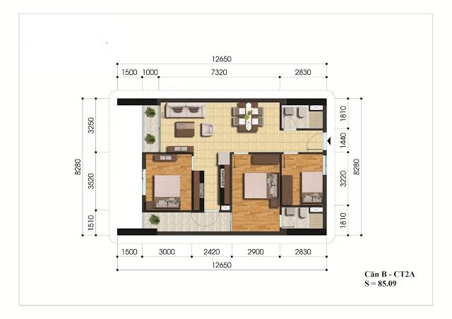 Mặt bằng căn hộ B - CT2A chung cư Gelexia Riverside