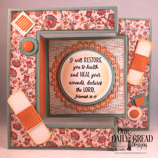 Our Daily Bread Designs Stamp Set: Get Well Wishes, Paper Collections: Cozy Quilt, Fall Favorites, Custom Dies: Tri-Fold Card and Layers, Bandages, Pierced Circles, Circles, Filigree Circles