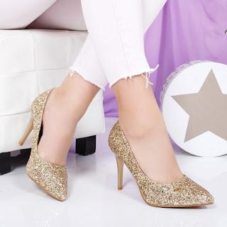 Pantofi Rowli aurii eleganti cu gliter de ocazii