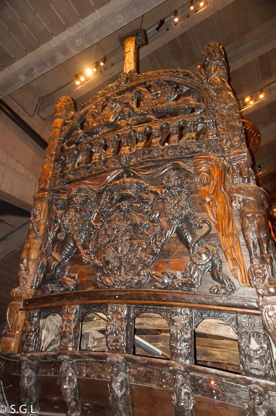 Detalle del Vasa, un galeon del S. XVII en Estocolmo