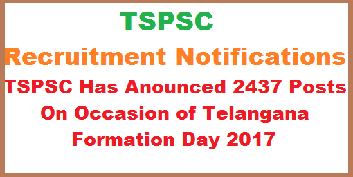 Telangana State Public Service Commission 15 Recruitment Notifications For 2437 Posts On The Occasion Of Telangana Formation day TSPSC Recruitment notification for various posts in Degree Colleges lecturers in REIS, Physical directors in REIS, Principal in jr colleges in REIS,Physical Directors in Jr colleges in REIS,Librarian in degree colleges in REIS, Jr Lecturer in REIS,Librarian in Jr colleges in REIS,Principal Schools in REIS,Asst Exicutives Engineer (civil,electrical,mechanical,in cad,R&B dep,Inspector in boiler dept,Dy.surveyors,Principal Degree collages REIS,Professors and Librarians in forest college and Research Institute Mulugu.telangana-state-public-service-commission-15-recruitment-notification-for-2437-posts
