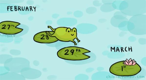 Cứ bốn năm thì có một năm có ngày 29 tháng 2. Năm đó gọi là năm nhuận dương lịch. Hình ảnh: Chibird Tumblr.
